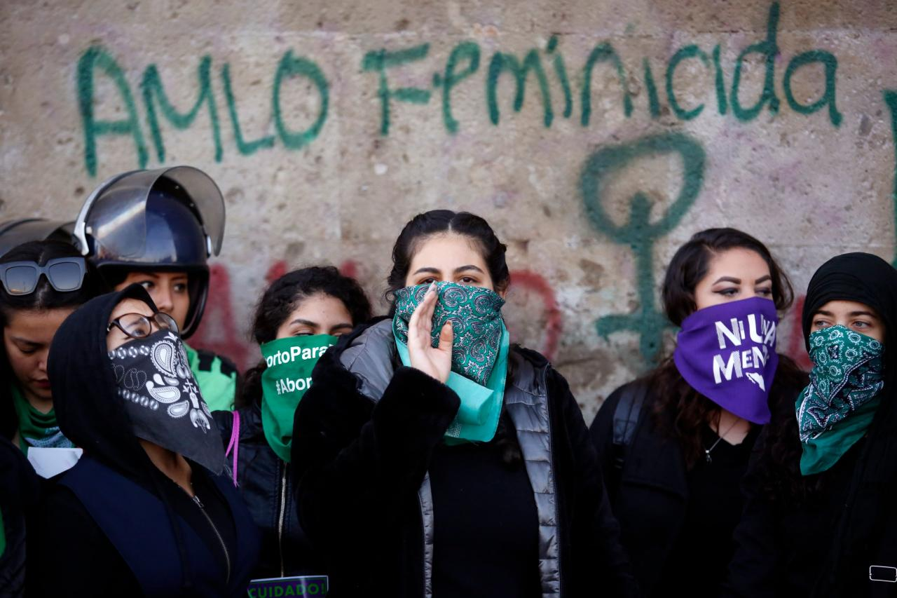 Protest against gender-based violence after the murder of seven-year-old Fatima Cecilia Aldrighett, outside the National Palace in Mexico City