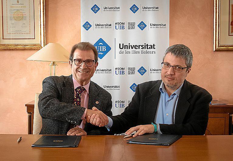 El rector Llorenç Huguet y el gerente de APSL Antoni Aloy.