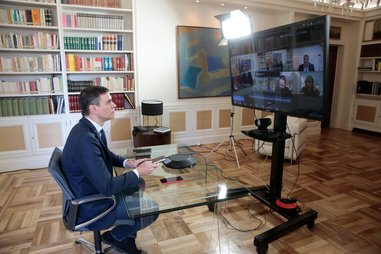Spanish PM Sanchez holds a videoconference over the coronavirus outbreak, in Madrid
