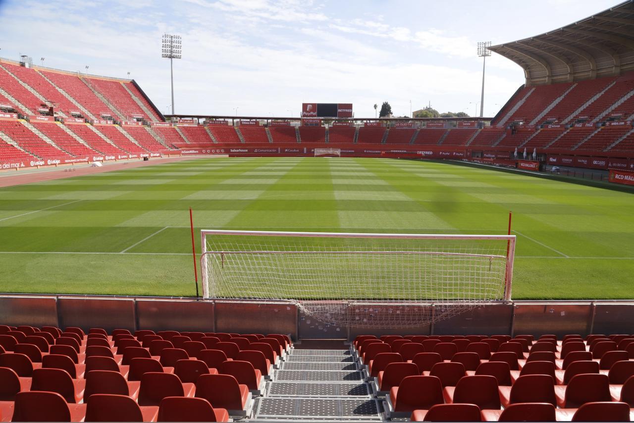 En la imagen, el estadio de Son Moix, completamente vacío, en la jornada de ayer.