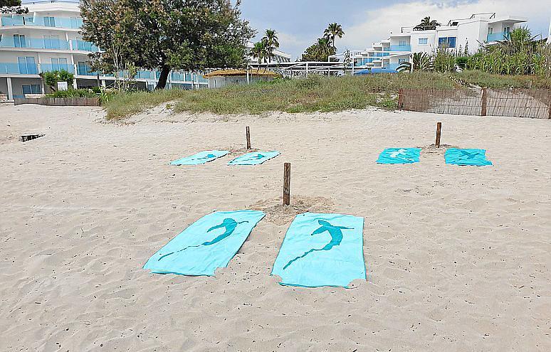 MURO. Idean un sistema de palos para acomodar a los usuarios de las playas respetendo la distancia de seguridad.
