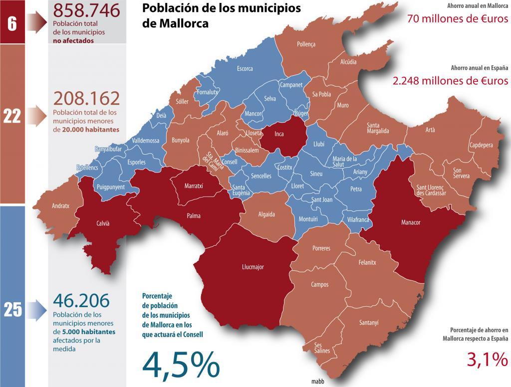 Mapa De Mallorca Municipios.El Consell Debera Gestionar Las Competencias De Los 25