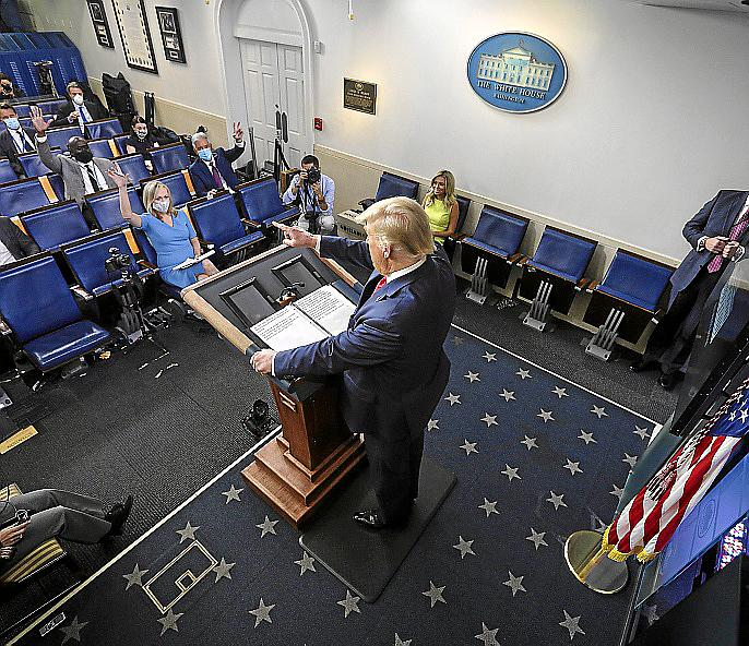 US President Trump holds a press briefing
