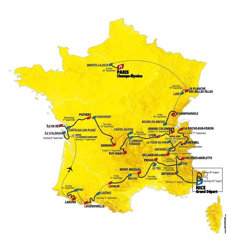 Recorrido de la 107ª edición del Tour de Francia.