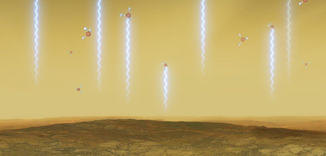 This artistic illustration depicts the Venusian surface and atmosphere, as well as phosphine molecules