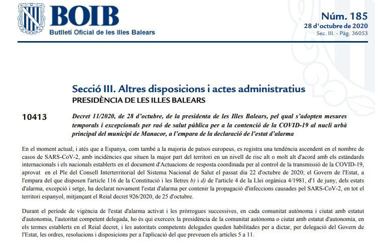 El BOIB publica la orden de confinamiento de Manacor