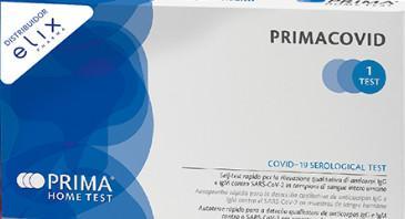 En la imagen se observa una caha de 'Primacovid', el primer test para detectar los anticuerpos de coronavirus que podrán vender las farmacias en España