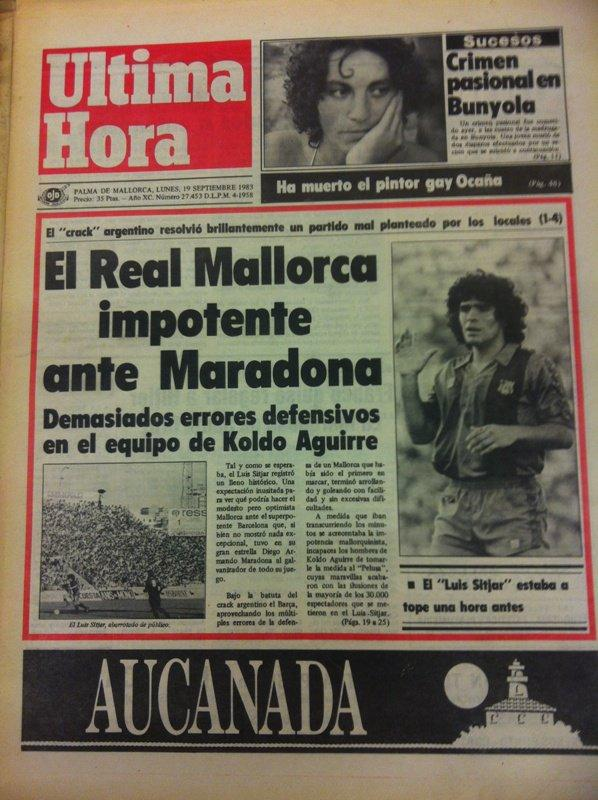 Maradona y sus dos visitas al Lluís Sitjar