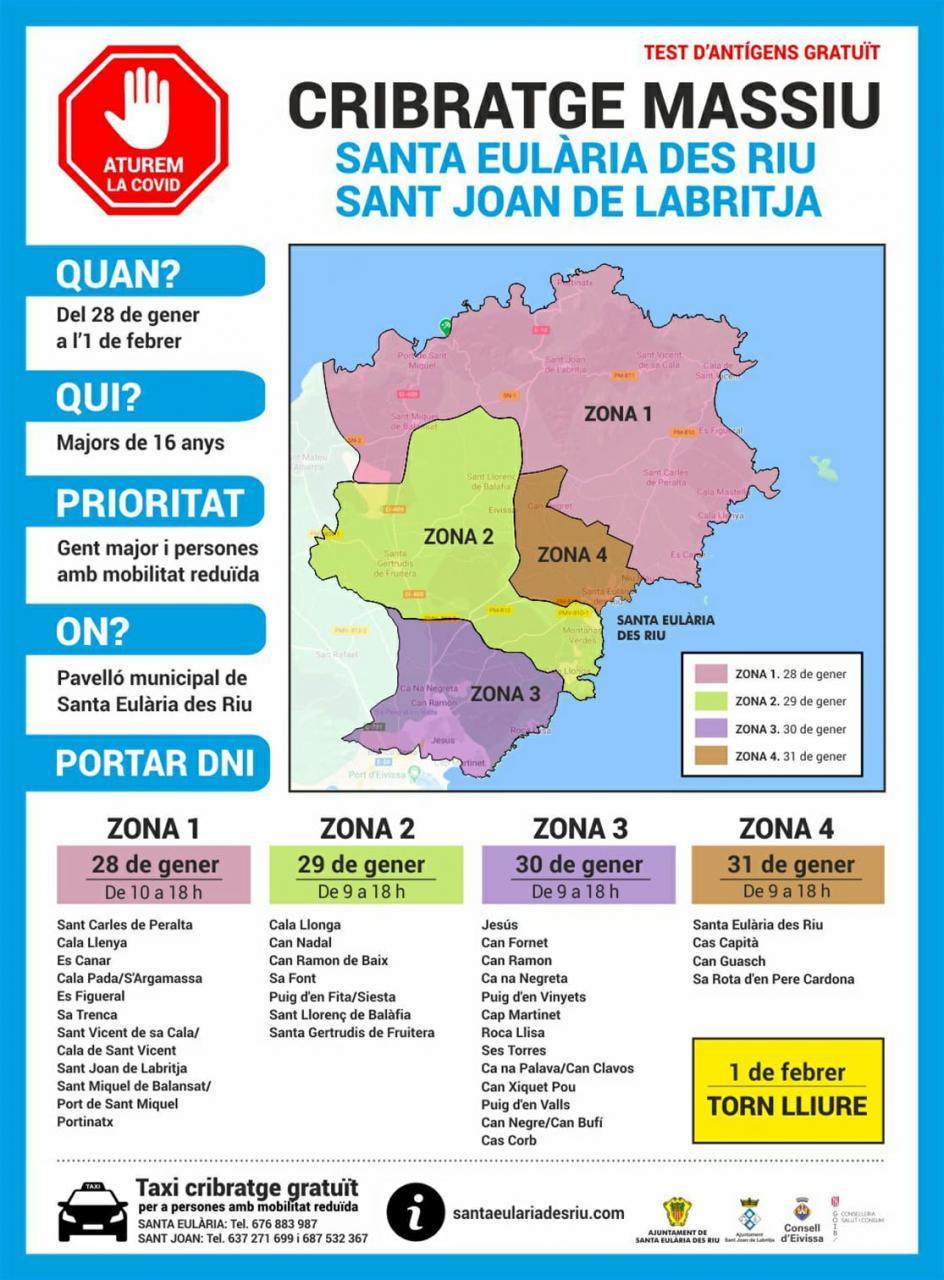 Desde este jueves Santa Eulària y Sant Joan comienzan su cribado poblacional