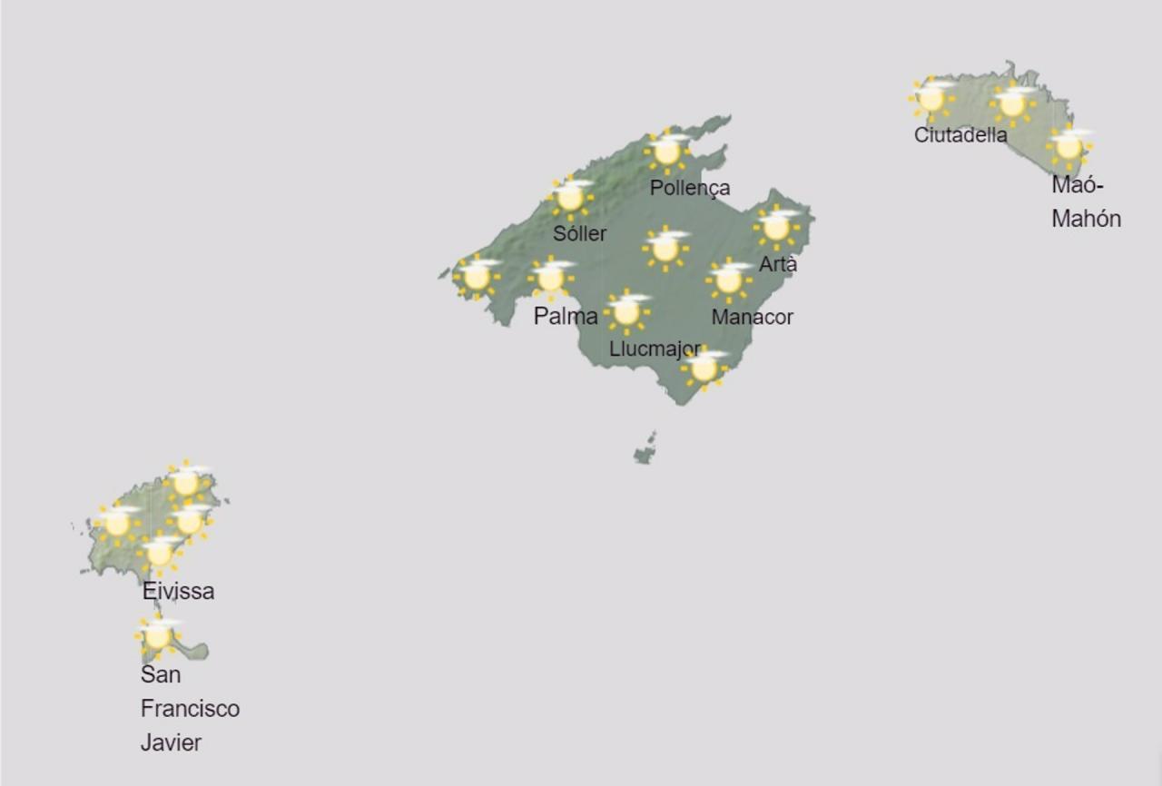 Predicción del tiempo de este miércoles en Baleares.