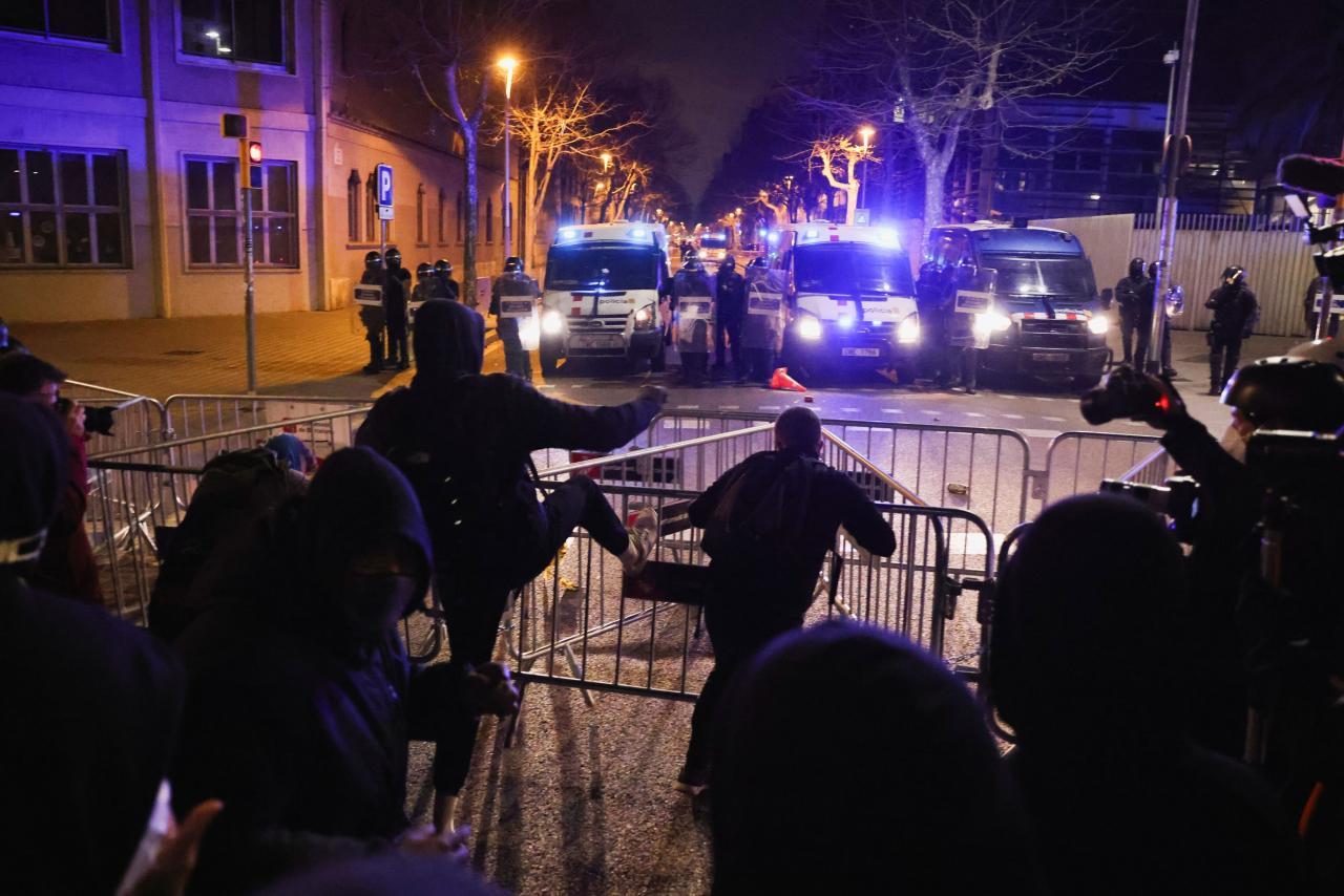 Protest against arrest of Spanish rapper Pablo Hasel in Barcelona