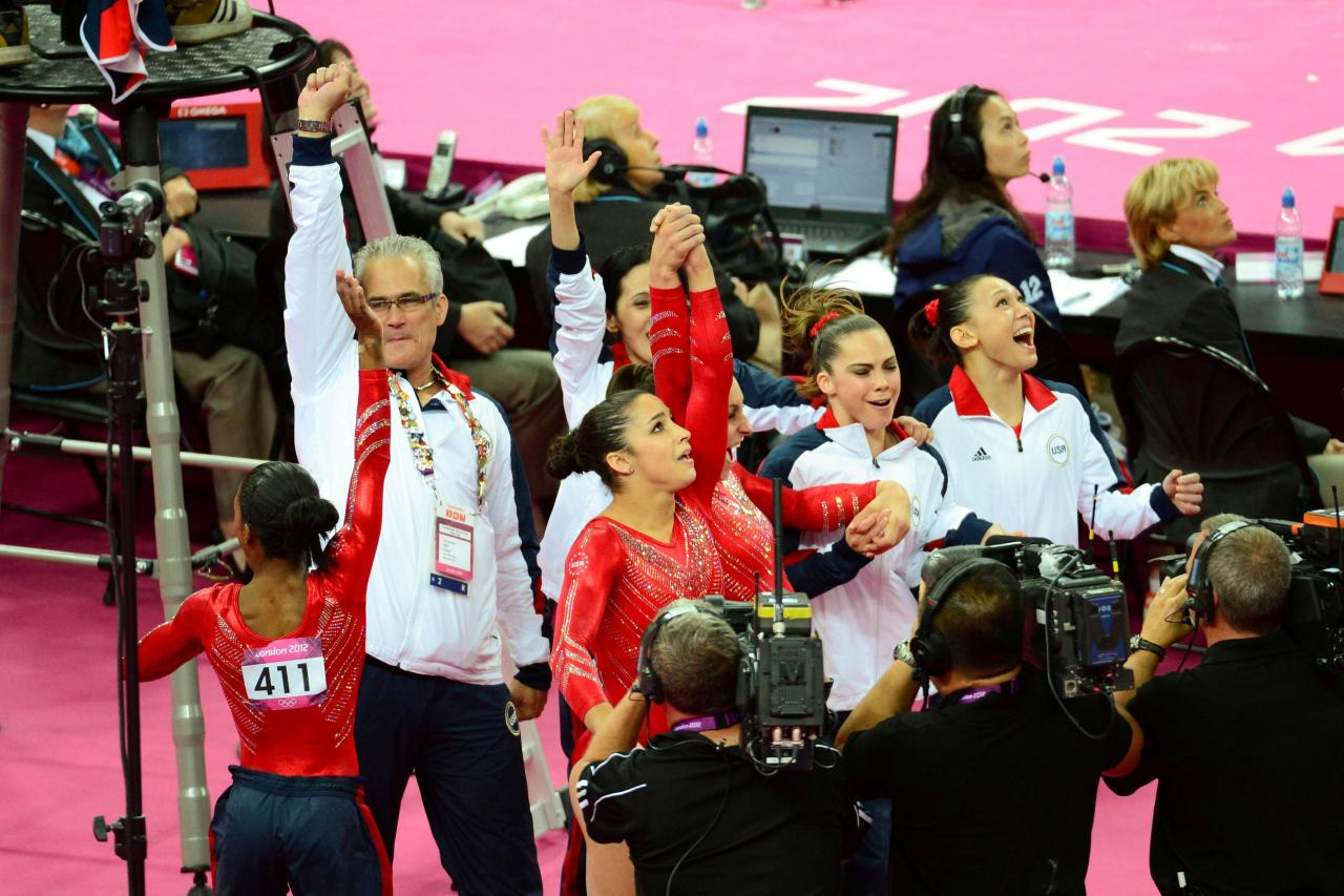 Coach John Geddert reacts after the Olympic women's team gymnastics finals in London
