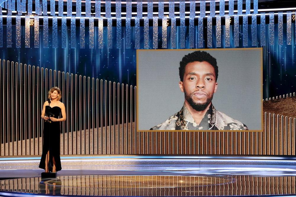Renee Zellweger announces the late Chadwick Boseman as winner of the Best Actor - Motion Picture Drama award for