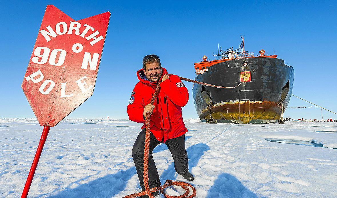 Man pretending to pull the Icebreaker