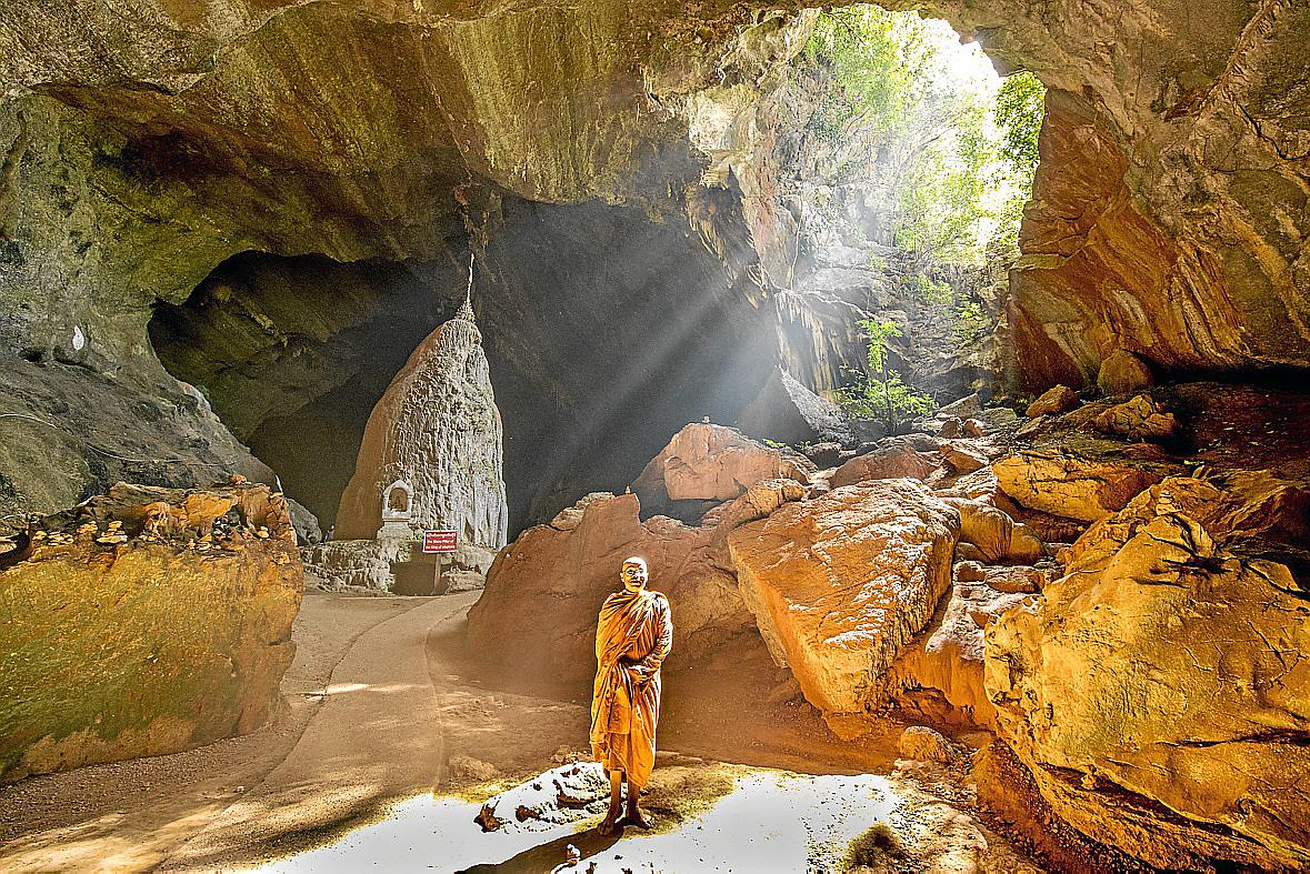 Monk in the caves Hpa An