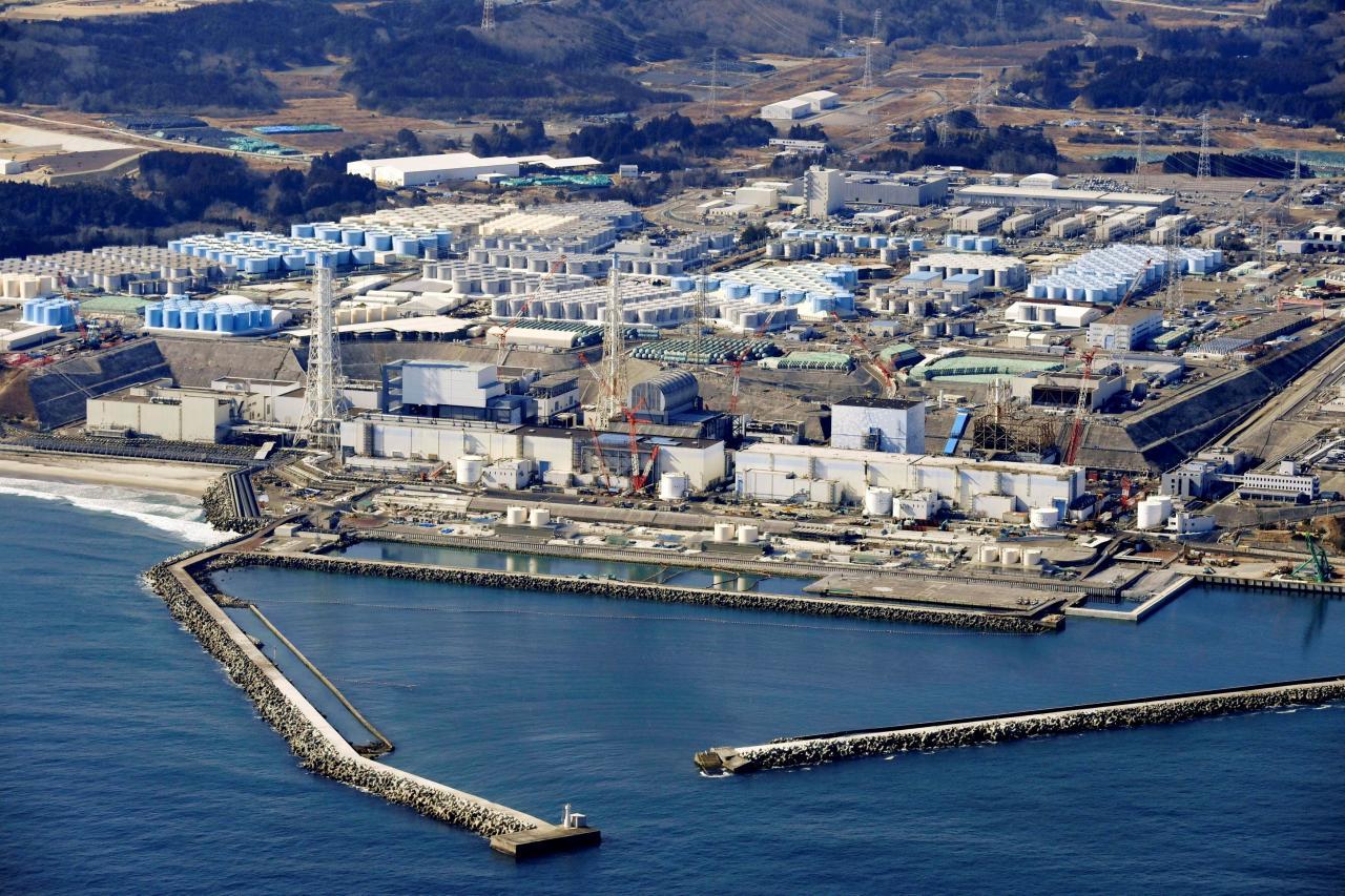 An aerial view shows the storage tanks for treated water at the tsunami-crippled Fukushima Daiichi nuclear power plant in Okuma town, Fukushima prefecture