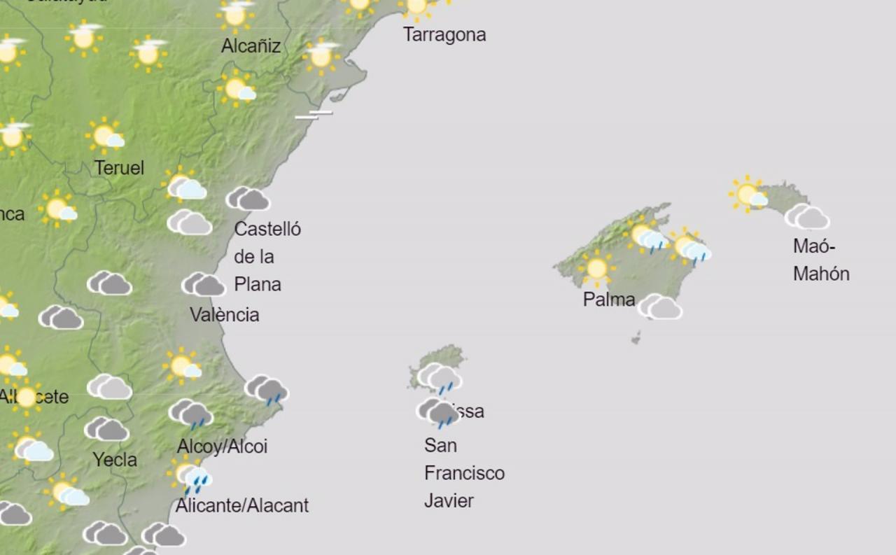 La Aemet prevé intervalos nubosos en Baleares en el último fin de semana de la primavera meteorológica