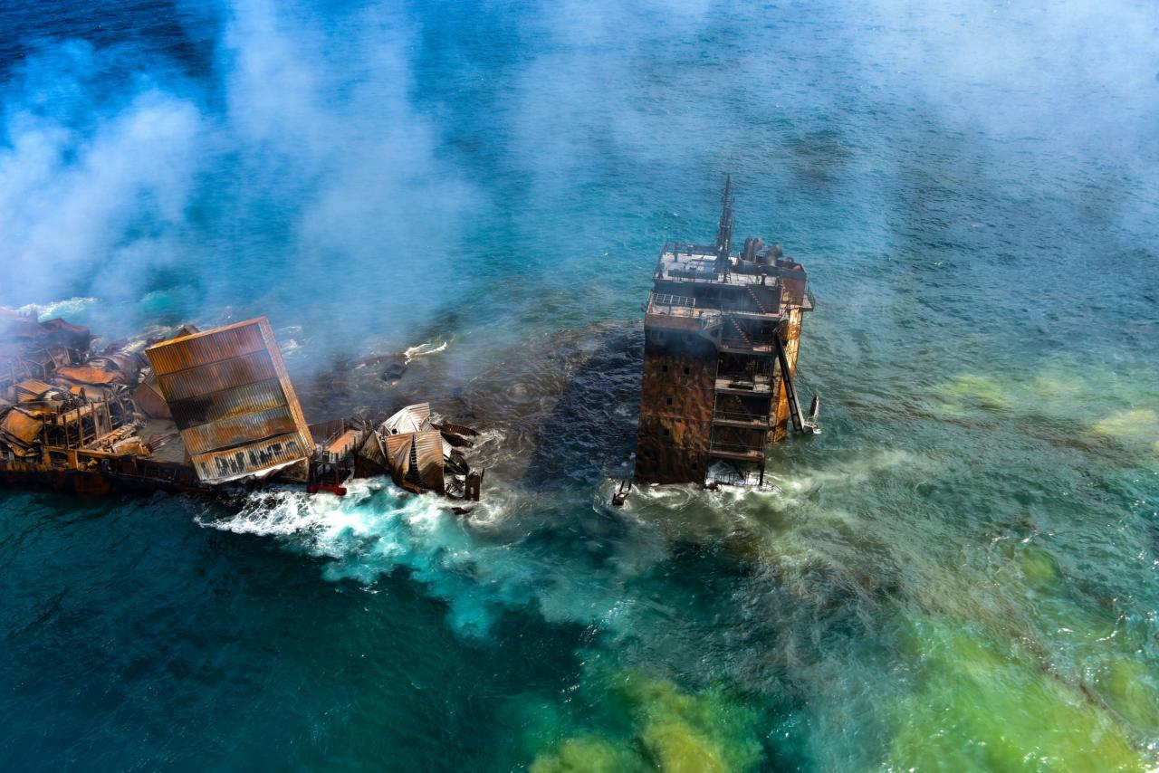 Aftermath of Singapore-flagged container ship explosion