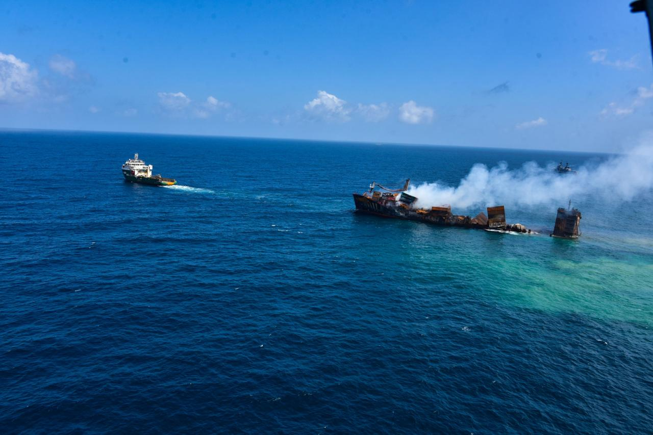 MV X-Press Pearl vessel sinks as its towed into deep sea off the Colombo Harbour
