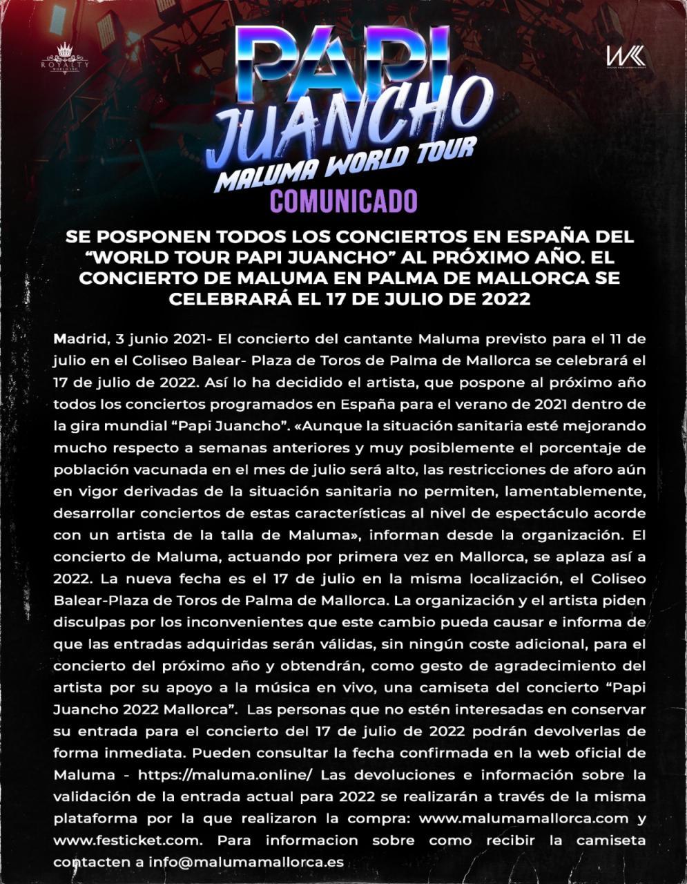 Aplazado el concierto de Maluma en Palma