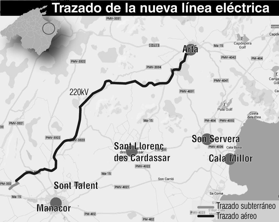 El proyecto de una línea eléctrica aérea entre Manacor y Artà genera polémica entre los vecinos