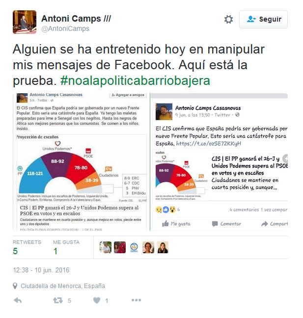 Antoni Camps denuncia la manipulación de sus mensajes en Facebook