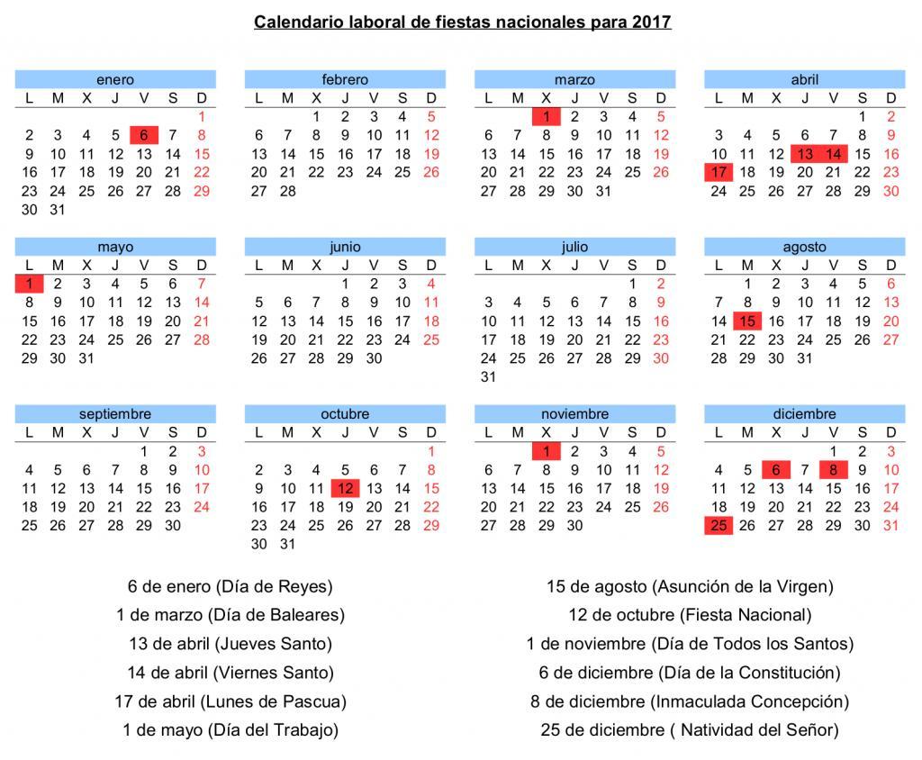 Calendario Con Santos.El Calendario Laboral Para 2017 Contara Con 12 Dias Festivos Nueve
