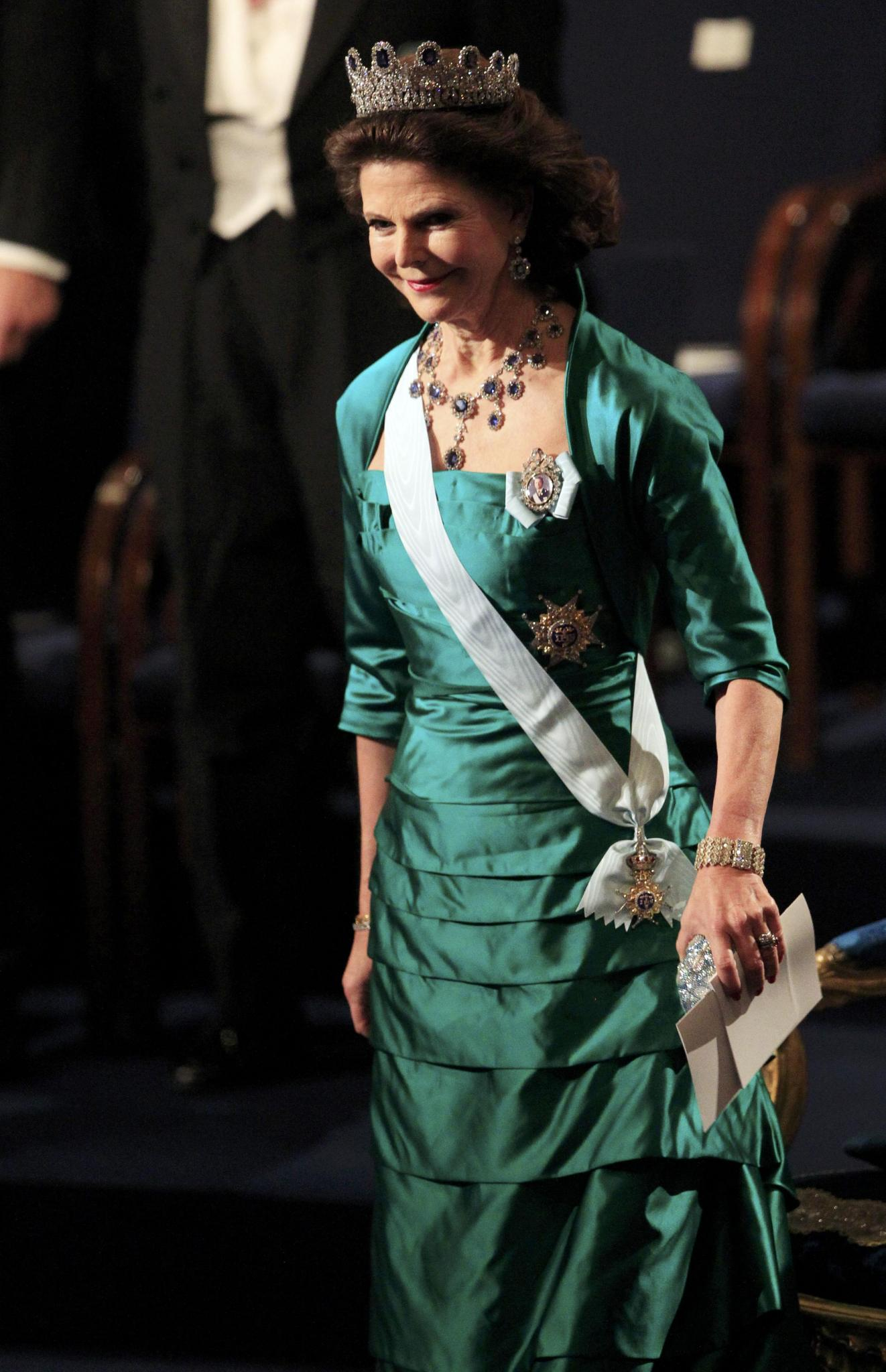 Sweden's Queen Silvia arrives to attend the Nobel prizes award ceremony in Stockholm