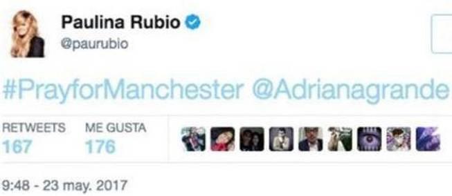 Paulina Rubio la lía en Twitter después del atentado de Manchester