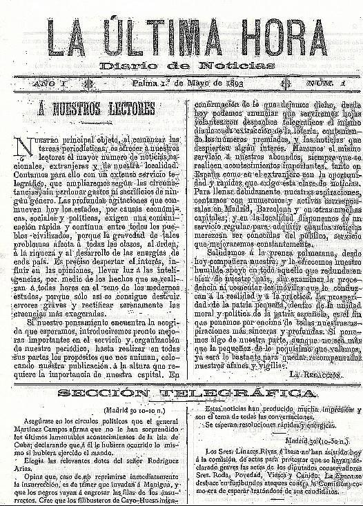 PALMA - PORTADA DEL PRIMER NUMERO DEL DIARIO LA ULTIMA HORA.