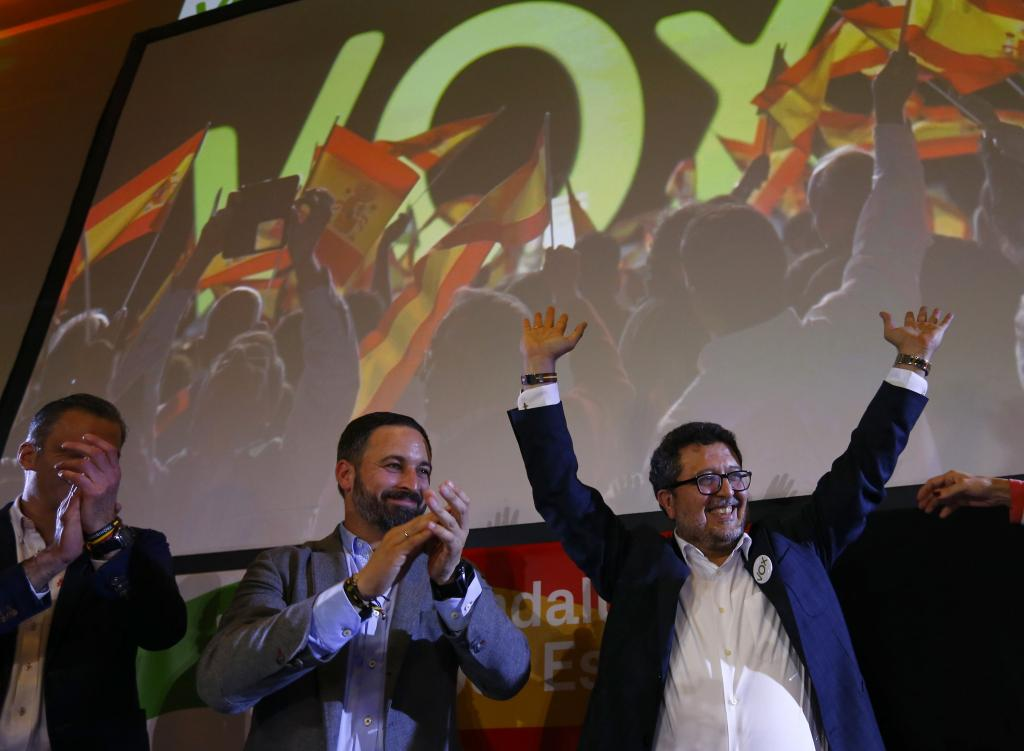 Spain's far-right VOX party leader Abascal and regional candidate Serrano celebrate results after the Andalusian regional electi