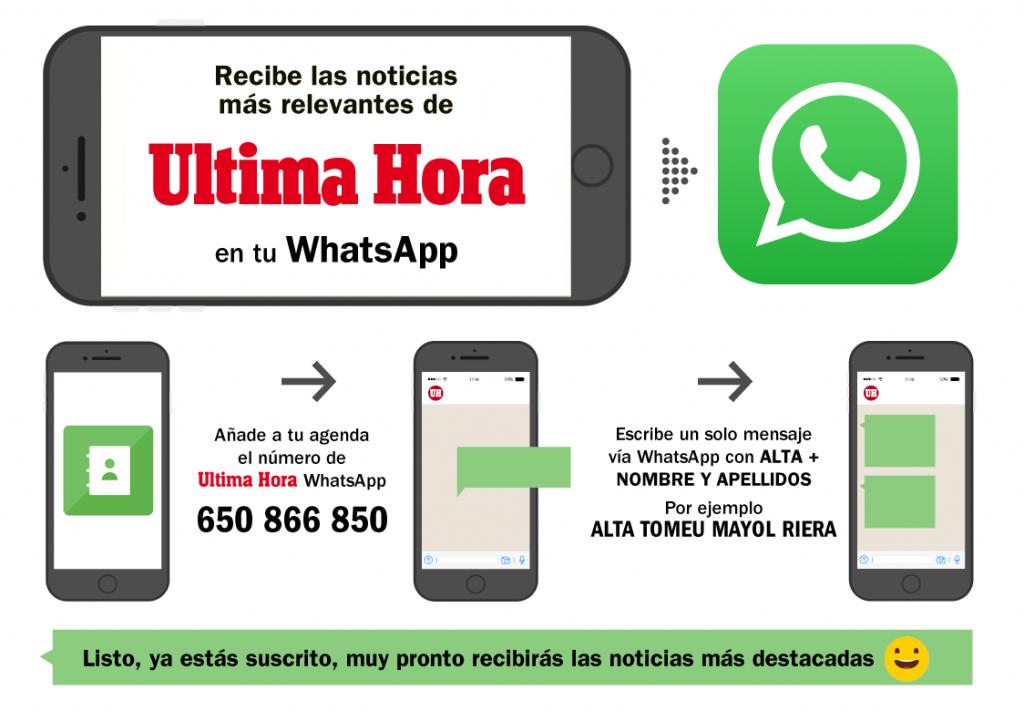 Pasos a seguir para darte de alta en las alertas de ULTIMA HORA WhatsApp.