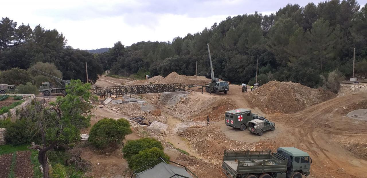 El Ejército retira el puente de Artà