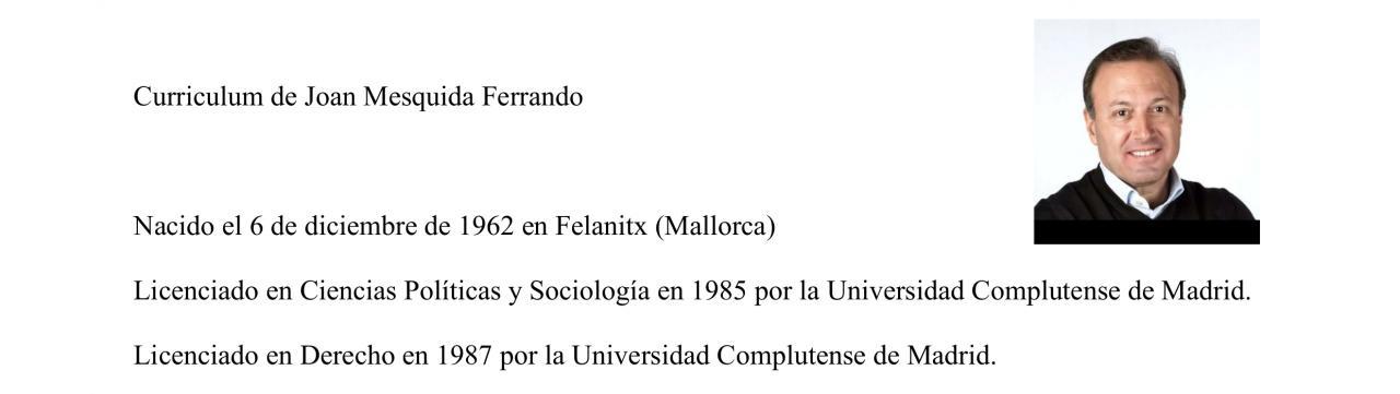 Currículum de Joan Mesquida
