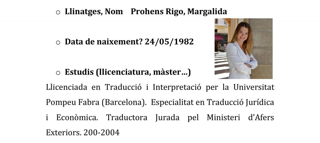 Currículum de Marga Prohens