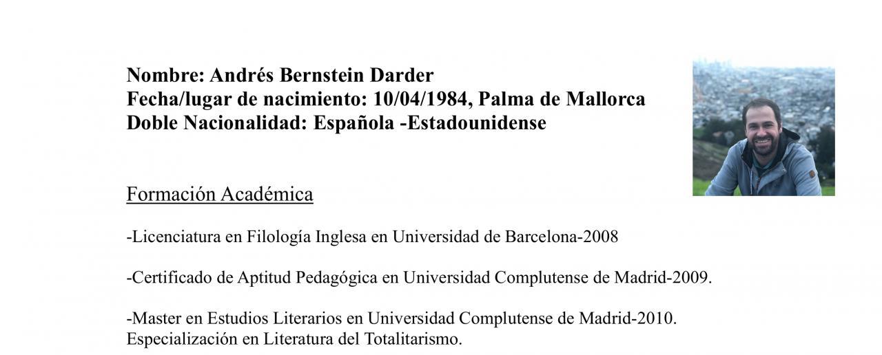 Curriculum de Andrés Bernstein, candidato de Actúa Baleares