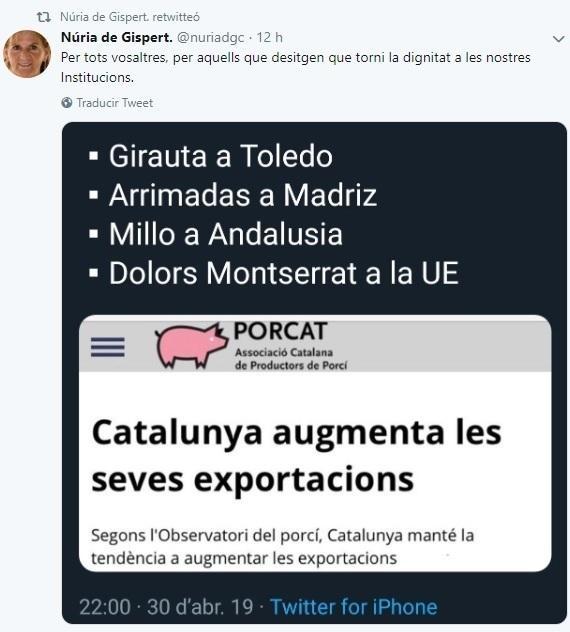 Twitt de la expresidenta del Parlament Núria de Gispert