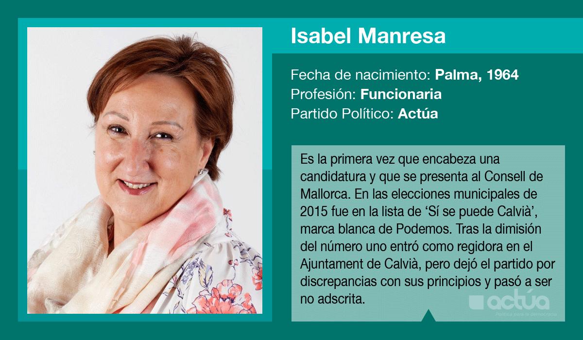Isabel Manresa, candidata de Actúa al Consell de Mallorca
