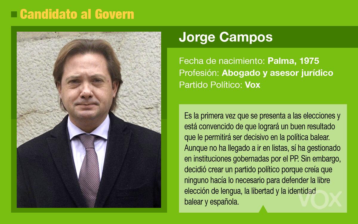 Jorge Campos, candidato de Vox al Govern