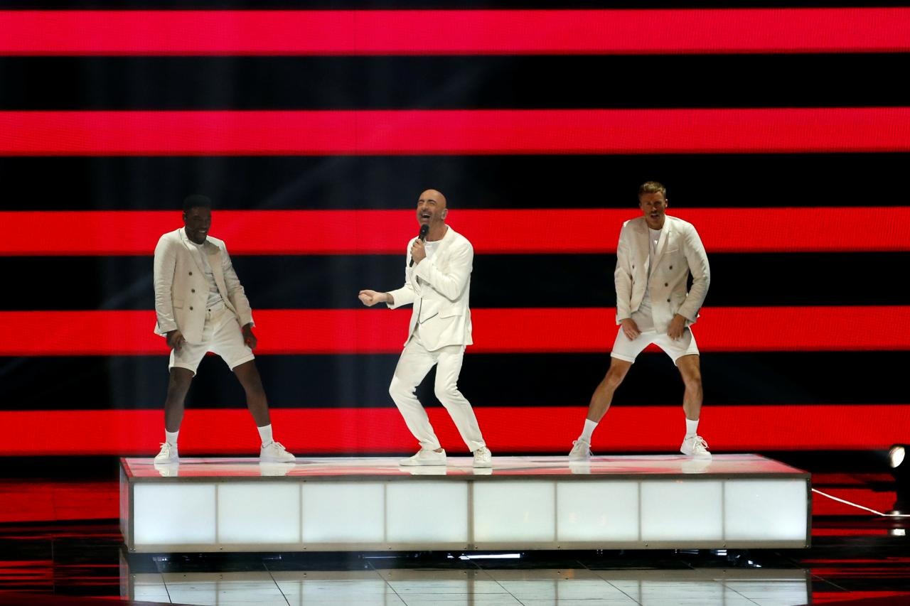 Participant Serhat of San Marino performs during the Grand Final of the 2019 Eurovision Song Contest in Tel Aviv, Israel
