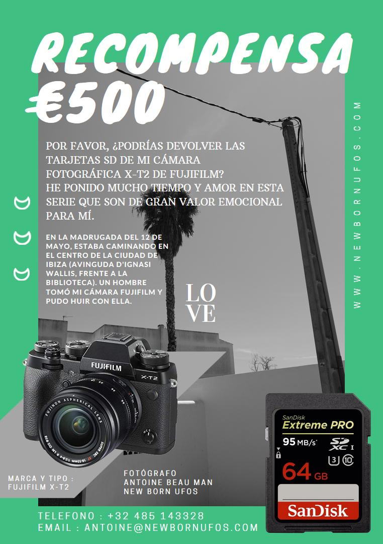 Ofrece recompansa de 500 euros a cambio de sus fotos