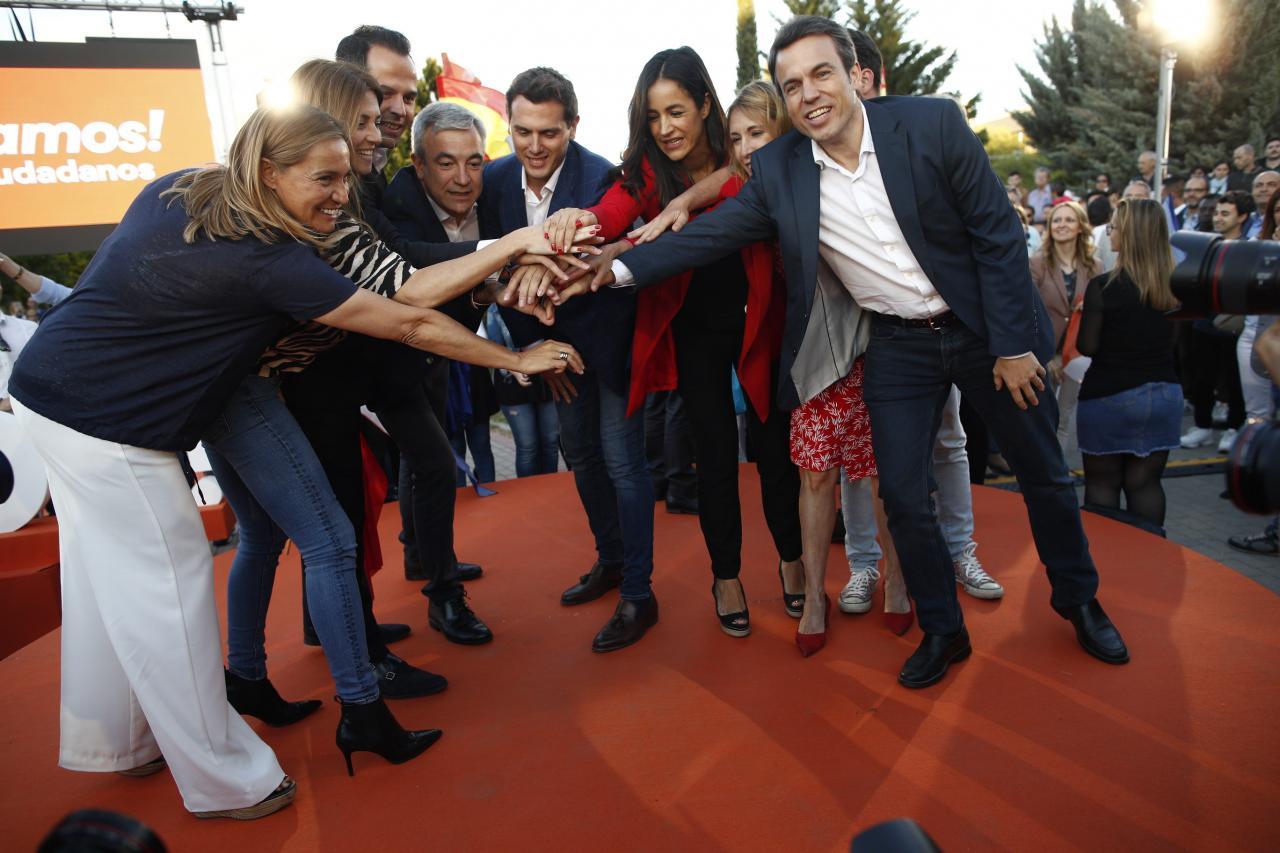 El candidato naranja a la presidencia de la Comunidad de Madrid, Ignacio Aguado, el cabeza de lista de Cs al Parlamento Europeo,