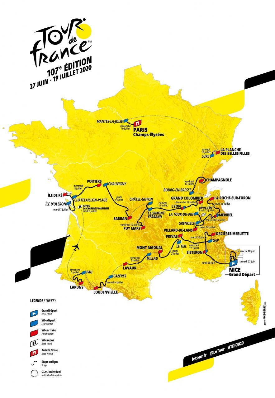 2020 Tour de France map
