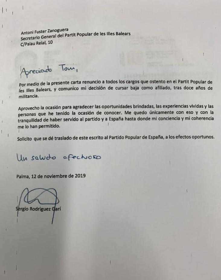 Carta enviada por Sergio Rodríguez al secretario general del PP, Toni Fuster