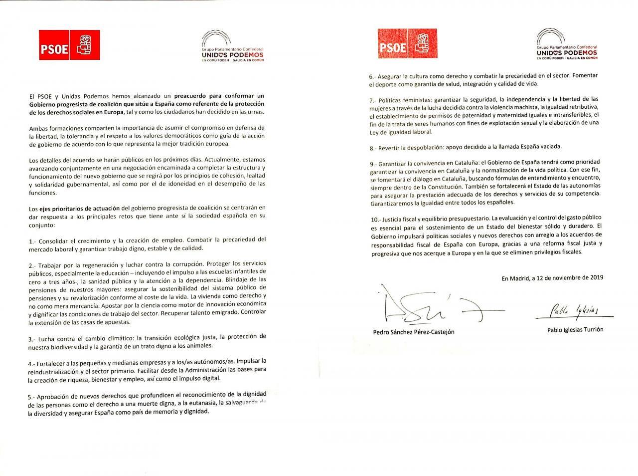 Sánchez firma un acuerdo con Podemos para formar Gobierno en España