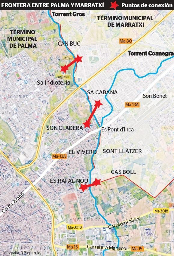 La Palma Mapa Municipios.Palma Y Marratxi Piden Conexiones Entre Sus Barriadas