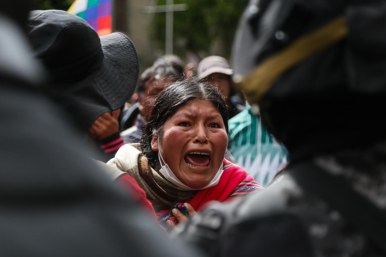 Una seguidora de Morales en una manifestación en Bolivia.