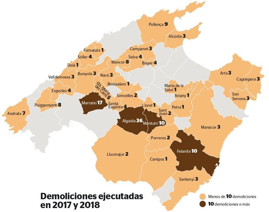 Mapa De Mallorca Municipios.El 90 De Derribos Por Obras Ilegales En Rustico En