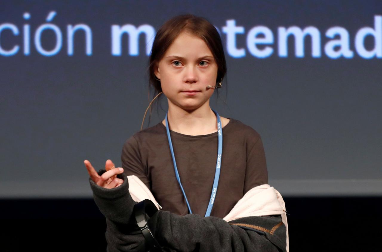 Climate change activist Greta Thunberg holds a news conference in Madrid