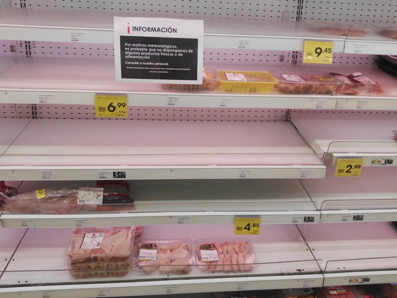 Falta de alimentos en los supermercado